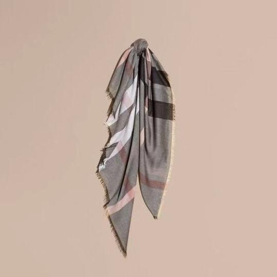 Burberry Gray and Pink Square Lightweight Scarf/Wrap Image 2
