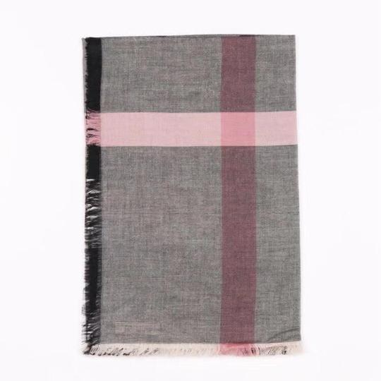 Burberry Gray and Pink Square Lightweight Scarf/Wrap Image 3