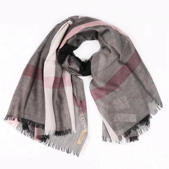Burberry Gray and Pink Square Lightweight Scarf/Wrap Image 5