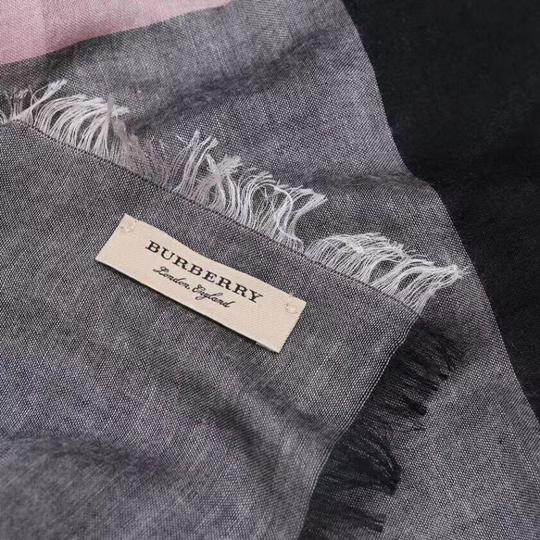 Burberry Gray and Pink Square Lightweight Scarf/Wrap Image 6