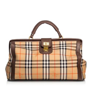 Burberry 9cbutr005 Vintage Canvas Leather Brown Travel Bag