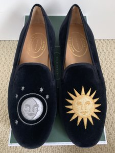 Stubbs & Wootton Blue Nitenday Sun Moon Embroidered Navy Velvet Loafers Shoes