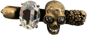Alexander McQueen Skull Crystal Knuckle Duster Gold 4 Finger Statement Ring