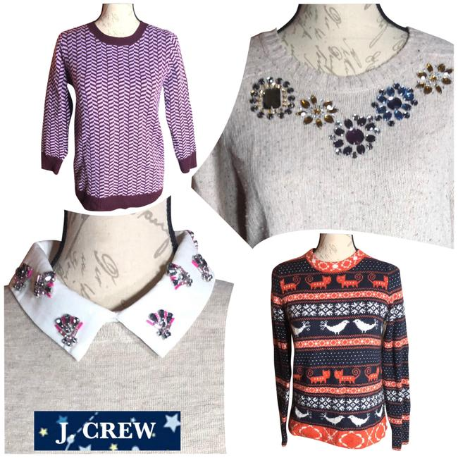 Item - Small-j. Crew-bundle Of (4) Unique Atyle Sweaters-wool Blend/ Linen Blend/ Italian Cashmere Light Tan/Oatmeal/Black/Orange/White/Lilac/Brown Sweater