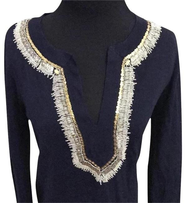 Item - Navy Dove with Gold Beading Cover-up/Sarong Size 4 (S)