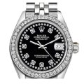 Rolex Rolex Silver and Black Ladies 26mm Datejust with Custom Bezel Diamond Image 0