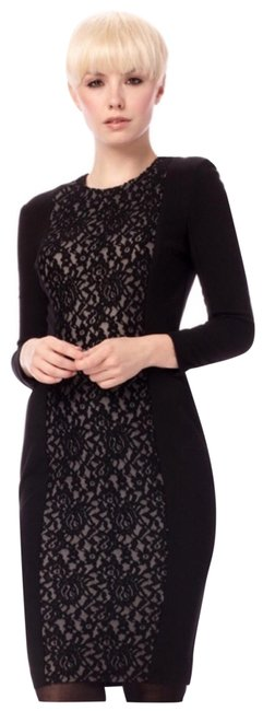 Item - Black Cream Long Sleeves Stretch Short Night Out Dress Size 4 (S)