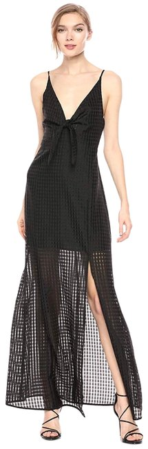Item - Black Women's Checkered Bow Maxi Long Night Out Dress Size 6 (S)