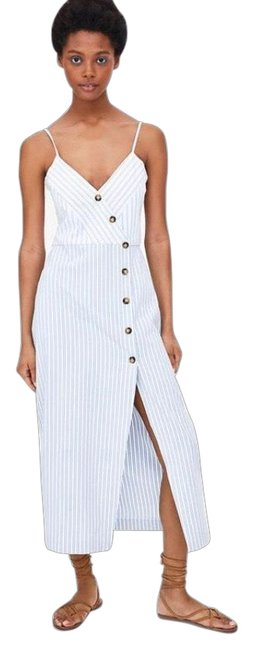 Item - Blue White Striped with Buttons Mid-length Casual Maxi Dress Size 4 (S)