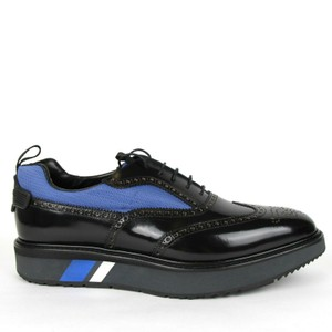 Prada Black W Leather Platform Oxford W/Blue Mesh Insert Uk 10.5/Us 11.5 2eg233 Shoes