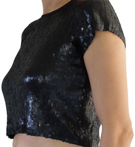 Chan Luu Crop Sequin Short Sleeve Embellished Fun Top Black