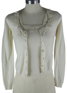 Blumarine Bcbg Summer Blouse Lace Tunic Lightweight Dress Shirt Knitted Lace Trim Made In Italy Cardigan