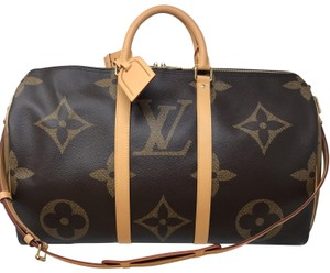 Louis Vuitton Keepall Keepall 50 Band Keepall Bandouliere Giant Giant Reverse Monogram Travel Bag