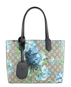 Gucci Canvas Leather Tote in Blue