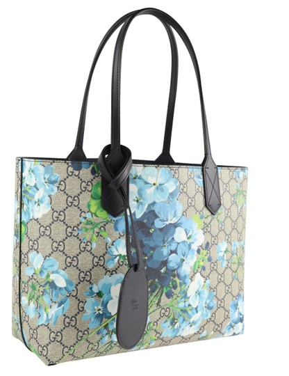 Gucci Canvas Leather Tote in Blue Image 1
