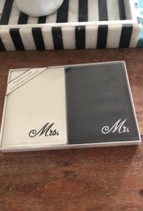White and Black Mr. Mrs. Passport Covers Luggage