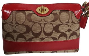 Coach Wristlet in Tan/Brown/Red