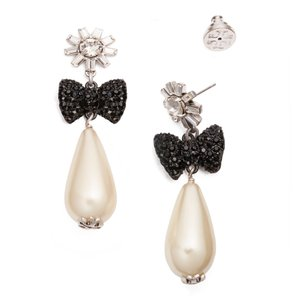 Tory Burch Ivory Crystal Stone Statement Black Bow Earrings