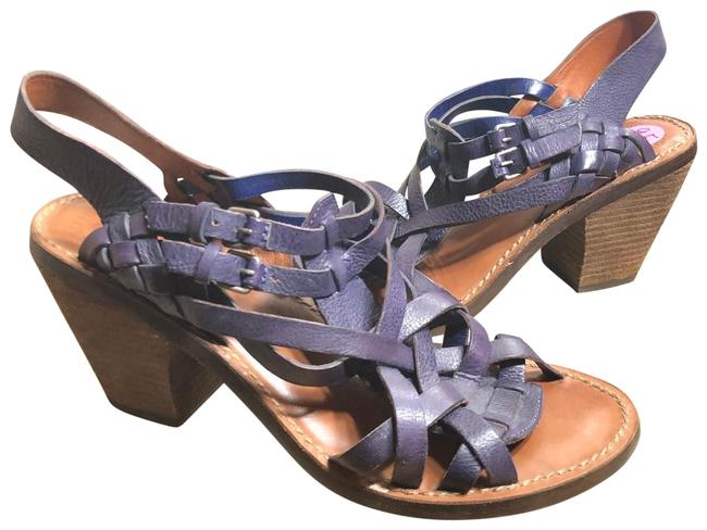 """Item - Purple/Silver 9.5-lucky Dark Leather/3.5"""" Stacked Wooden Sandals Size US 9.5 Regular (M, B)"""