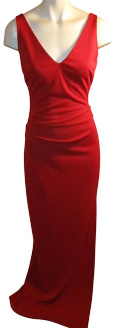 Item - Red Sleeveless Knit Long Formal Dress Size 4 (S)
