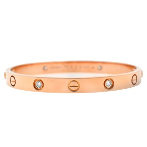 31637a031e4 Cartier Cartier 18k Rose Gold 4 Diamond LOVE Bracelet New Screw Style Size  16
