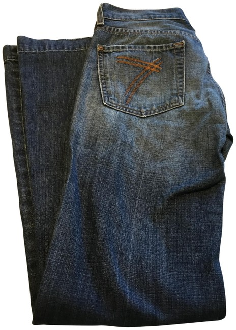 Item - Blue Medium Wash Weathered Trouser/Wide Leg Jeans Size 27 (4, S)