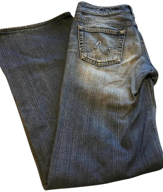 AG Adriano Goldschmied Blue Distressed The Mona Flare Leg Jeans Size 26 (2, XS) AG Adriano Goldschmied Blue Distressed The Mona Flare Leg Jeans Size 26 (2, XS) Image 1