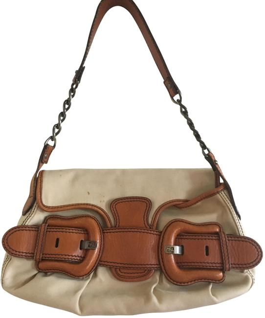 Item - Buckle Tan Leather and Canvas Shoulder Bag