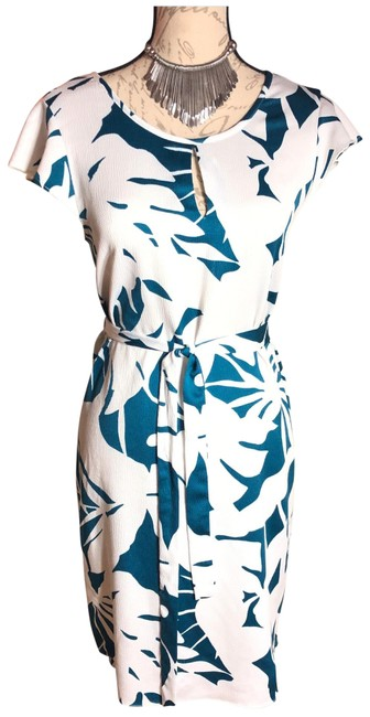 Item - White/Teal White/Teal Print Belted Cap Sleeve Lightweight Short Sleeved Mid-length Work/Office Dress Size 0 (XS)