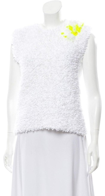 Item - L Made In Spain Thick Embellished Sleevelessp White Yellow Sweater