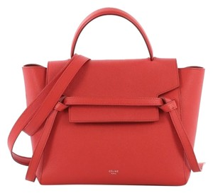 Céline Leather Beltbag Tote in red