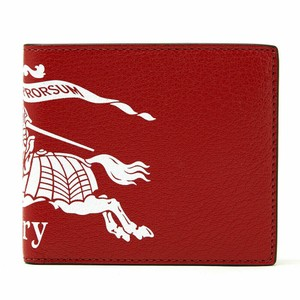 Burberry BRAND NEW MEN'S BURBERRY BILLFOLD CREST PRINT RED LEATHER DOUBLE SIDED
