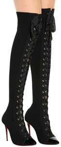Christian Louboutin Floral Stiletto Ankle Frenchie black Boots