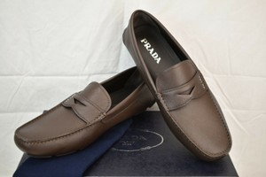 Prada Brown Saffiano Leather Lettering Logo Driving Penny Loafers 7 Us 8 Shoes