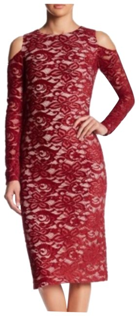 Item - Bordeaux-sesame Burgundy Red Cold Shoulder Lace Body-con Mid-length Short Casual Dress Size 12 (L)