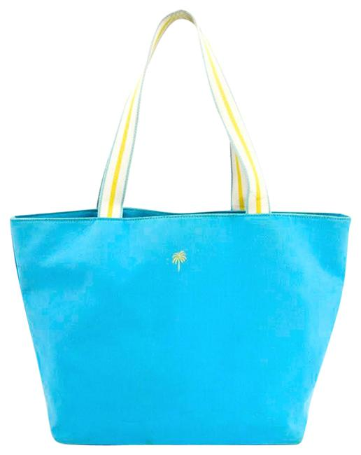 Item - Bag Canvas #163-19 Blue/ Yellow/ White Cotton Tote