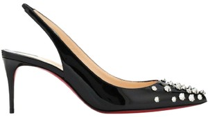 Christian Louboutin Spike Drama Slingback Pigalle So Kate Black Silver Pumps