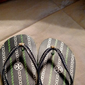 Tory Burch Navy, Kelly Green and white Flats