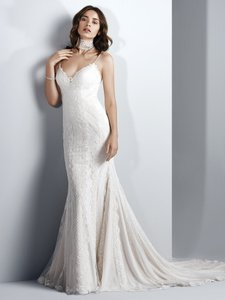 Sottero and Midgley Ivory Over Soft Pearl Lace Narissa Sexy Wedding Dress Size 12 (L)