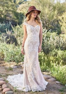 Lillian West Nude/Ivory/Nude Lace Venice 6506 Off The Shoulder Illusion Back Gown Vintage Wedding Dress Size 2 (XS)