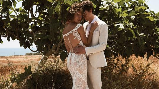 Lillian West Nude/Ivory/Nude Lace Venice 6506 Off The Shoulder Illusion Back Gown Vintage Wedding Dress Size 2 (XS) Image 4