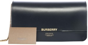 Burberry Gold Hardware Leather Lambskin Hand Painted Wrist Strap Black Clutch