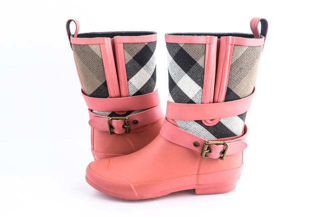Item - Pink Coral Check-detail Belted Rain Mid-calf Minty Boots/Boot Boots/Booties Size US 5 Regular (M, B)