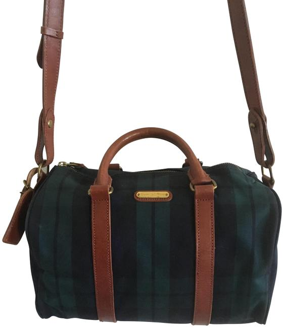 Item - Vintage Plaid Collection Blue and Green Leather Canvas Messenger Bag