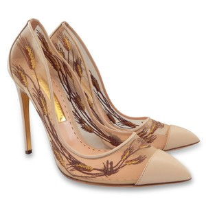 Rupert Sanderson Embroidered Mesh Leather Pointed Toe Nude, Gold Pumps