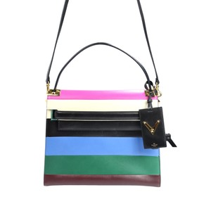 Valentino Striped Leather Studded Satchel in Multi