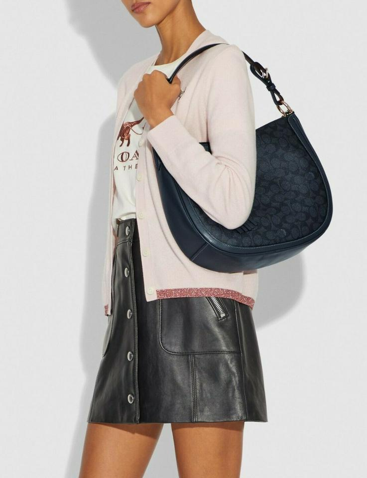 Coach Sutton Hobo In Signature Canvas Shoulder Bag Charcoal//Midnight Navy//Gold