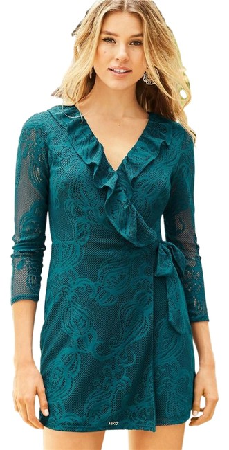 Lilly Pulitzer Green Tike Wrap Ruffle Romper/Jumpsuit Lilly Pulitzer Green Tike Wrap Ruffle Romper/Jumpsuit Image 1