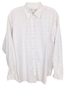 Burberry Vintage Check Plaid Cotton Button Down Shirt white