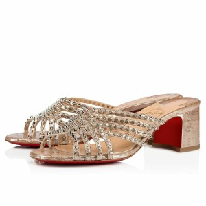 Christian Louboutin Pigalle Stiletto Classic Ankle Strap Drama silver Pumps